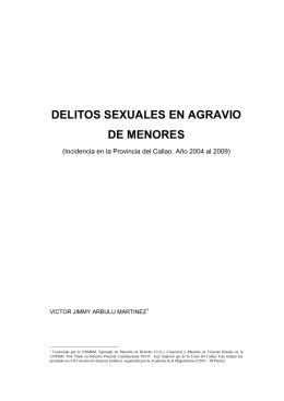 Delitos Sexuales En Agravio De Menores En La Provincia Del