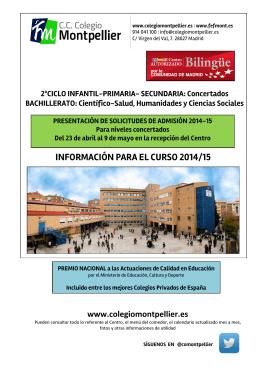 INFORMACIÓN PARA EL CURSO 2014/15