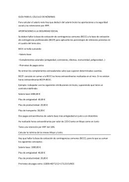 GUÍA PARA EL CÁLCULO DE NÓMINAS Para calcular el