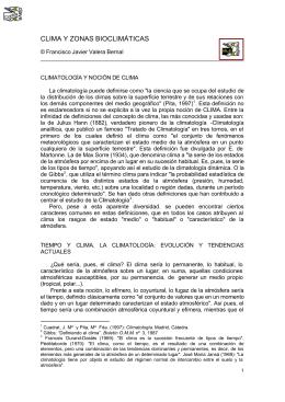 CLIMA Y ZONAS BIOCLIMÁTICAS