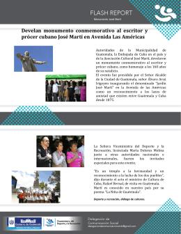 Develan monumento conmemorativo al escritor y prócer cubano