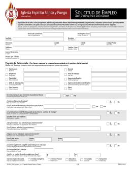 Solicitud de Empleo | Application for Employment