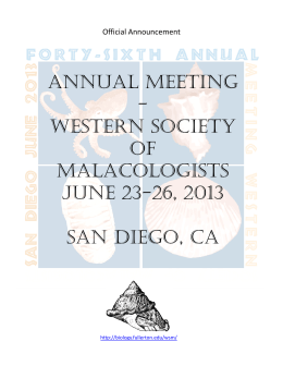 46th Annual Meeting of the Western Society of Malacologists San