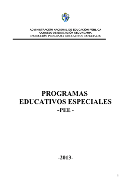 PROGRAMAS EDUCATIVOS ESPECIALES