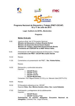 Programa Nacional de Educación y Trabajo (PNET