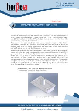 Cerradura Celda CERRADURA DE ENCLAVAMIENTO DE CELDA