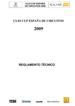 CLIO CUP ESPAÑA DE CIRCUITOS REGLAMENTO TÉCNICO