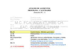 ANÁLISIS DE ALIMENTOS PROGRAMA - CALENDARIO