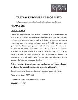 TRATAMIENTOS SPA CARLOS NIETO