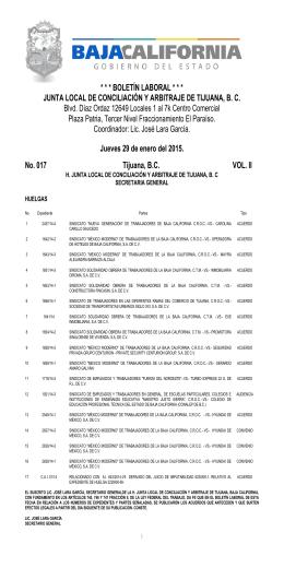 Jueves 29 de Enero - junta local de conciliación y arbitaje de tijuana