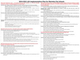 2014-2015 LEA Implementation Plan for Marietta City Schools