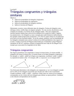 Lección #4 - Triángulos Congruentes y Triángulos Similares
