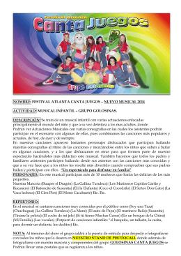 Dossier Musical Festival Atlanta Canta Juegos 2014 Grupo Colosinas.