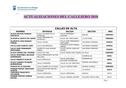 ACTUALIZACIONES DEL CALLEJERO 2010