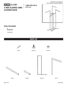 h-3787 4 way slanted arm clothes rack parts list