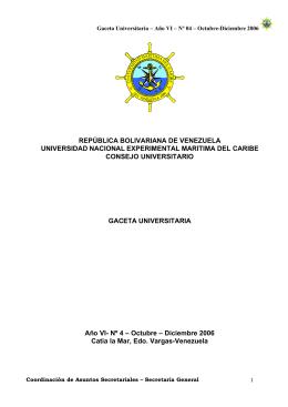 Octubre-Diciembre 2006 - Universidad Marítima del Caribe