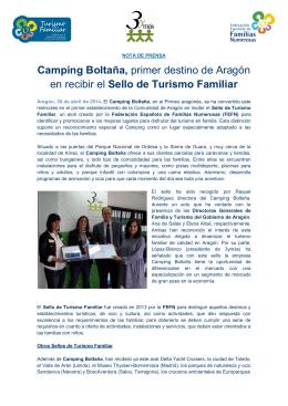 Camping Boltaña, primer destino de Aragón en recibir el