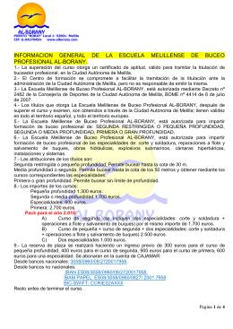 informacion general de la escuela melillense de buceo profesional