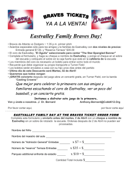 YA A LA VENTA! Eastvalley Family Braves Day!