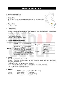 REGION APURÍMAC - Ministerio de Comercio Exterior y Turismo