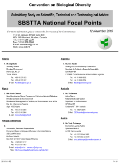 SBSTTA NFP - Convention on Biological Diversity