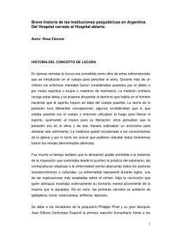 Breve historia de las Instituciones psiquiátricas en Argentina. Del