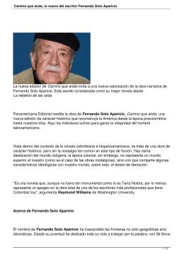 Camino que anda, lo nuevo del escritor Fernando Soto Aparicio