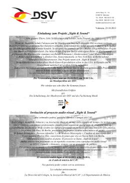 """Einladung zum Projekt """"Sight & Sound"""""""