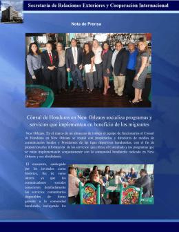 Cónsul de Honduras en New Orleans socializa programas y