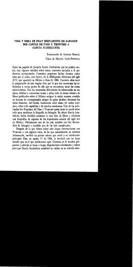 VIDA Y OBRA DE FRAY BERNARDINO `DE SAHAGúN DOS