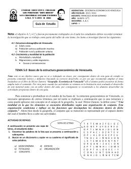 TEMA 5.0 Bases de la estructura geoeconómica de Venezuela