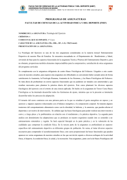 Fisiología del Ejercicio - INEF - Universidad Politécnica de Madrid