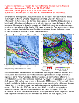 Fuerte Terremoto 7.0 Región de Nueva Bretaña Papúa Nueva