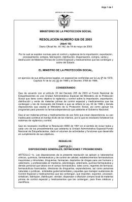 resolución 0826 de 2003 - Ministerio de Salud y Protección Social