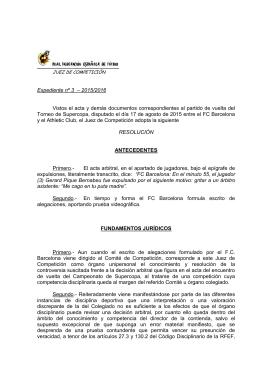 Resolución del Juez de Competición