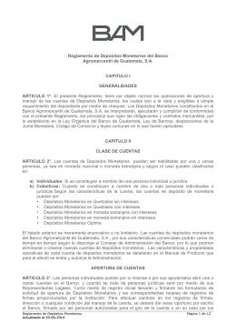 Reglamento de Depósitos Monetarios del Banco Agromercantil de