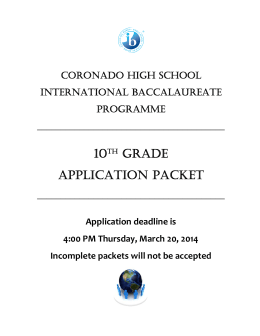 10th grade application packet - El Paso Independent School District