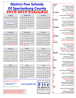 2014-2015 School Year Calendar - Spartanburg County School