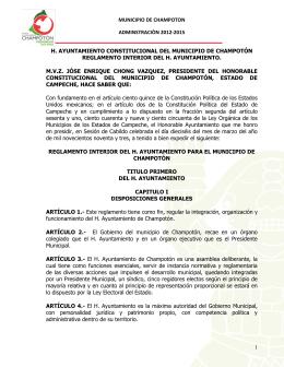 MUNICIPIO DE CHAMPOTON ADMINSTRACIÒN 2012