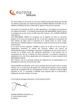 Constitución de Our Broadband Ltd. para desarrollar
