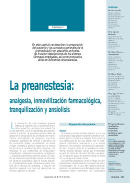 La preanestesia: - cirugia veterinaria