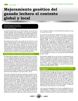 Mejoramiento genético del ganado lechero el contexto global y local