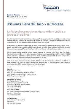 Ibis lanza Feria del Taco y la Cerveza