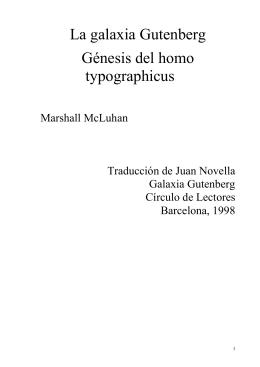 La galaxia Gutenberg Génesis del homo typographicus