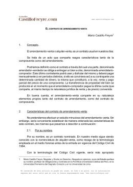 Mario Castillo Freyre 1. Concepto. El arrendamiento