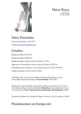 Marco Reyes Datos Personales Estudios