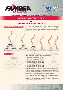 DEMOLEDOR CÓNICO DCF® Características técnicas