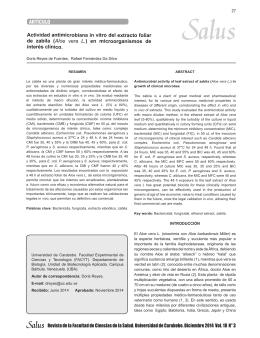 (Aloe vera L.) en microorganismos de interés clínico