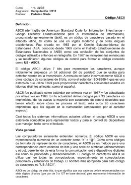 Código ASCII Definición. ASCII (del inglés de American Standard