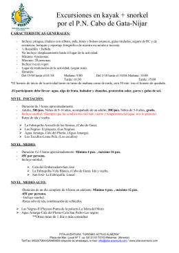 Dossier EXCURSIONES EN PIRAGUA cliente - pita